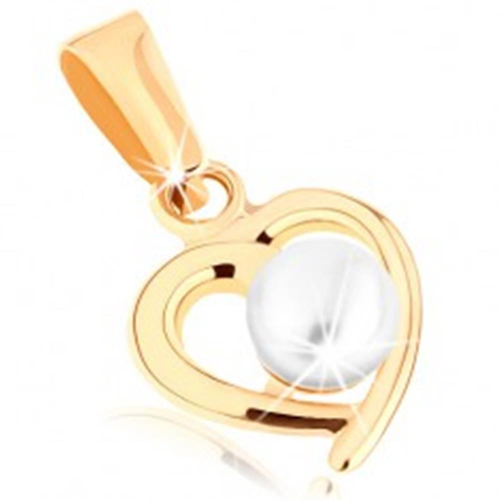 Šperky eshop Zlatý prívesok 375 - kontúra nesúmerného srdiečka, guľatá perla bielej farby