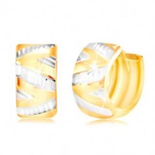 Náušnice zo 14K zlata - lesklý vypuklý povrch s cik-cak línou z bieleho zlata