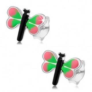 Náušnice zo striebra 925, farebný motýľ, ružovo-zelené krídla