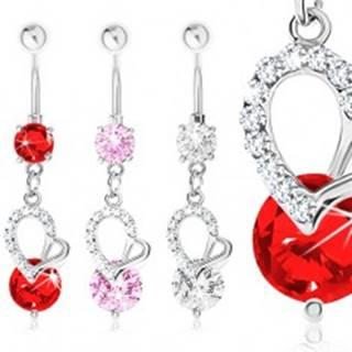 Oceľový 316L piercing do pupka, nesúmerné srdce, zirkóny - Farba zirkónu: Červená - R