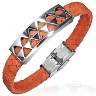 PVC náramok s oceľovou ozdobou s trojuholníkmi, oranžový