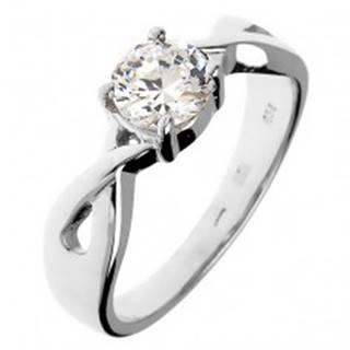 Snubný prsteň zo striebra 925 - okrúhly zirkón v prepletaných pásoch - Veľkosť: 49 mm