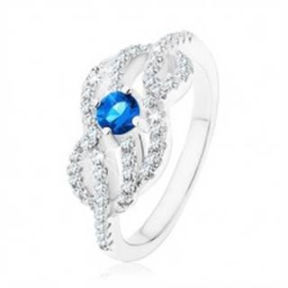 Strieborný 925 prsteň, modrý zirkónik, prepletené zvlnené línie - Veľkosť: 49 mm