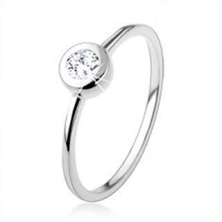 Strieborný 925 prsteň, tenké lesklé ramená, číry zirkón v oblej objímke - Veľkosť: 49 mm