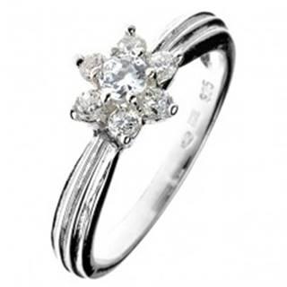 Strieborný prsteň 925 - zirkónový kvet, vystúpený pásik po obvode - Veľkosť: 50 mm