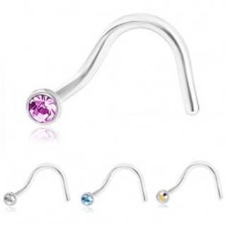 Zahnutý piercing do nosa z ocele 316L, strieborná farba, farebný zirkónik - Farba zirkónu: Číra - C