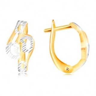 Zlaté náušnice 585 - lesklé zvlnené línie zdobené zárezmi a bielym zlatom
