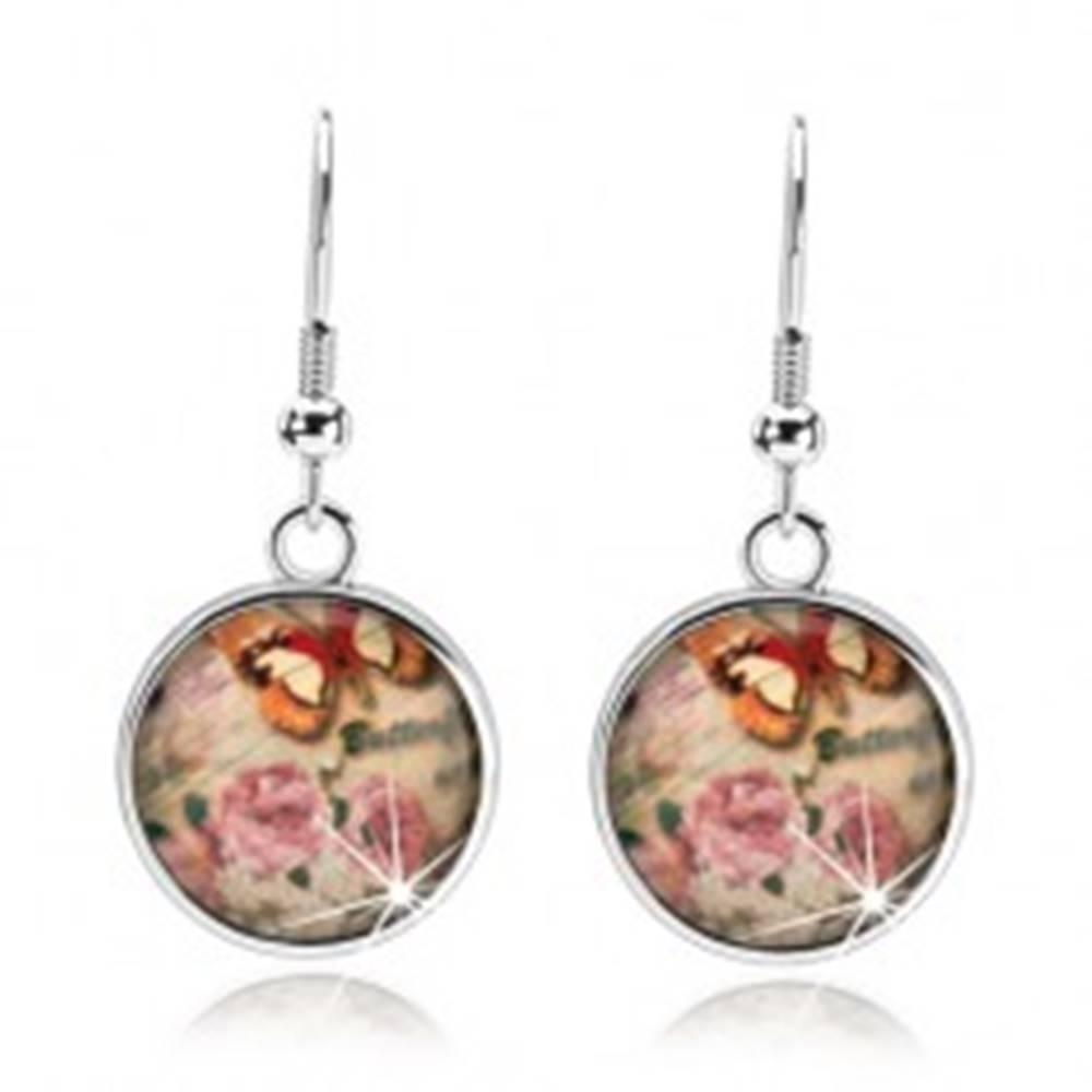Šperky eshop Cabochon náušnice, sklo, ružové a biele kvety, hnedo-biely motýľ, nápis