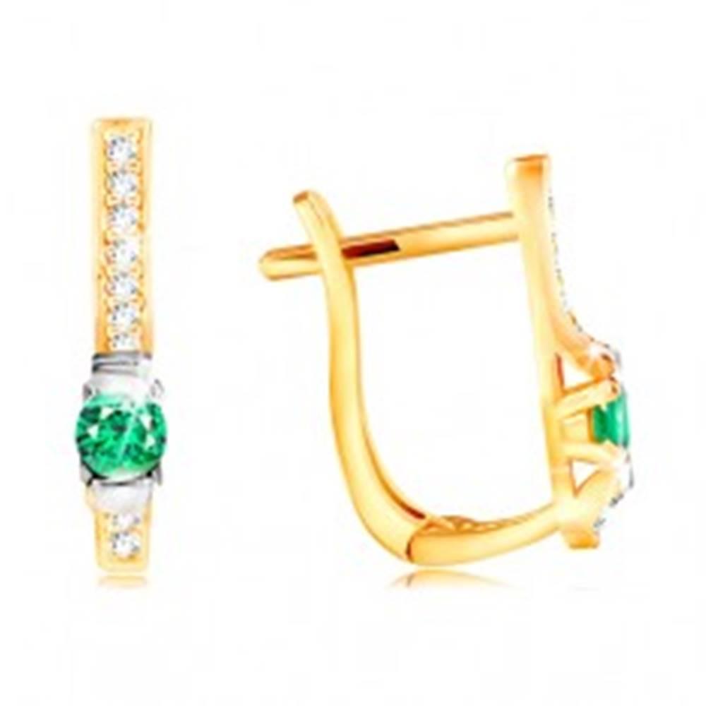 Šperky eshop Náušnice v 14K zlate - číra zirkónová línia a tmavozelený okrúhly zirkón