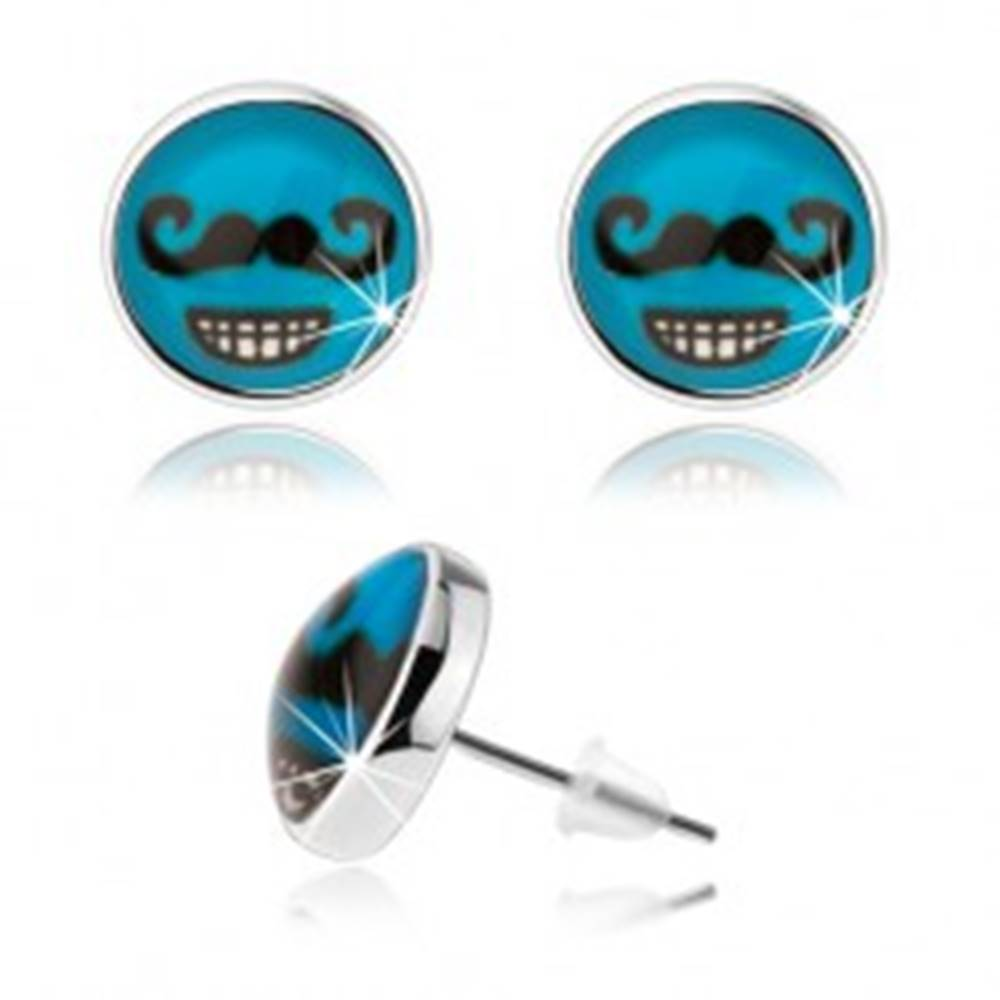 Šperky eshop Náušnice v štýle cabochon, sklo, modré pozadie, čierne fúzy, zubatý úsmev
