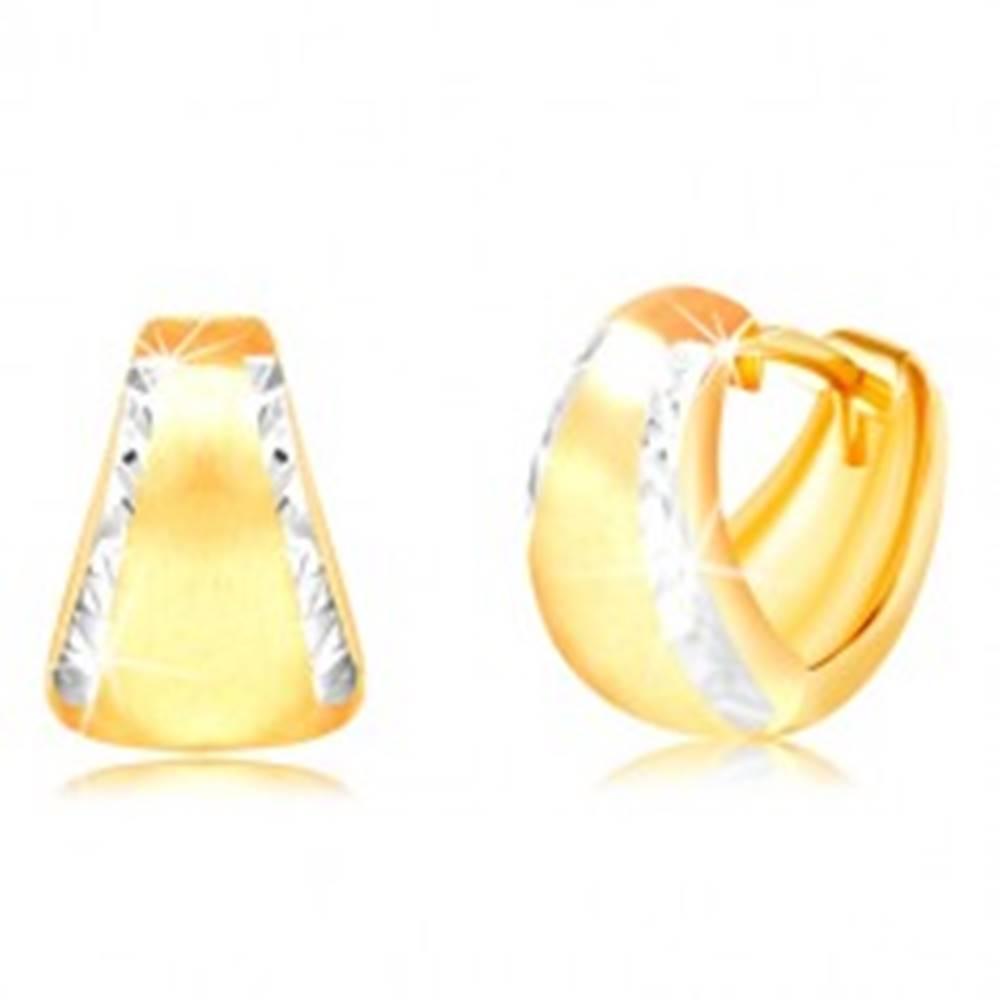 Šperky eshop Náušnice zo 14K zlata - matný rozšírený oblúk s brúsenými okrajmi z bieleho zlata