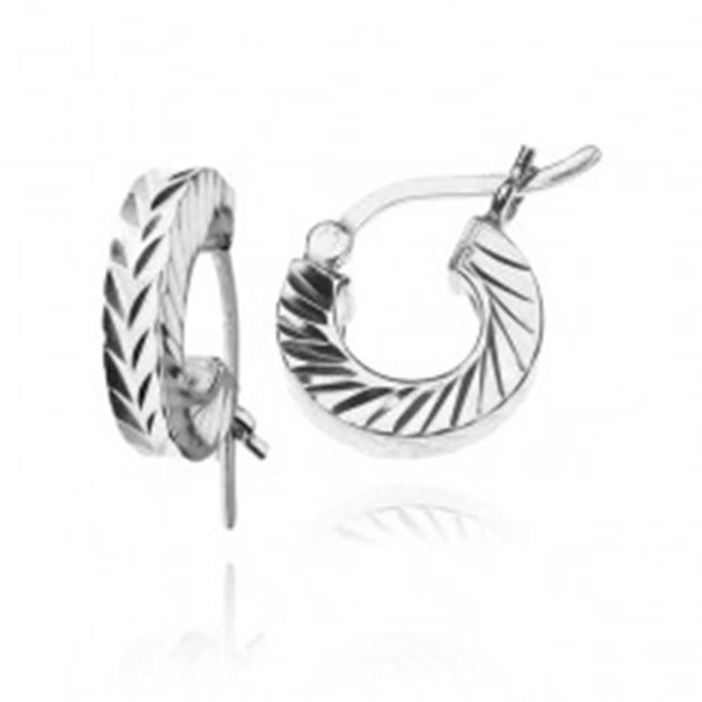 Šperky eshop Náušnice zo striebra 925 - diagonálne brúsené malé kruhy, 12 mm