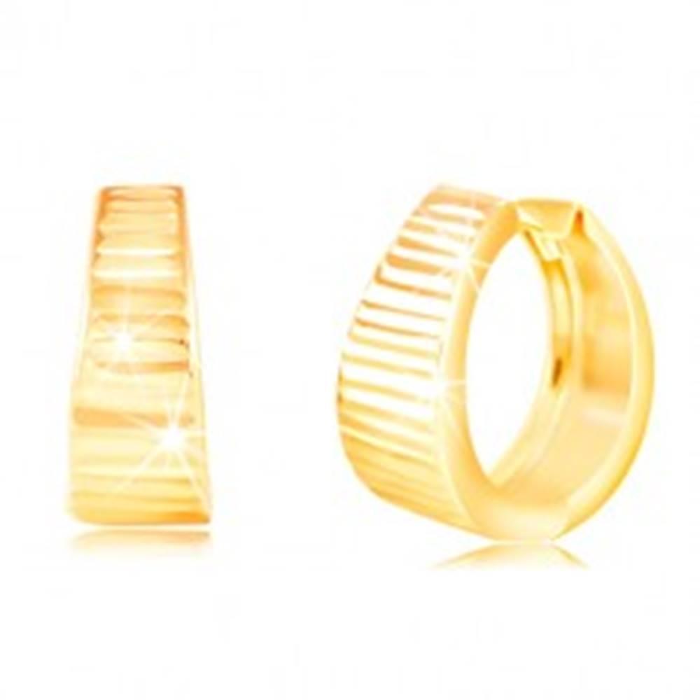 Šperky eshop Náušnice zo žltého 14K zlata - krúžok s ligotavými vodorovnými ryhami