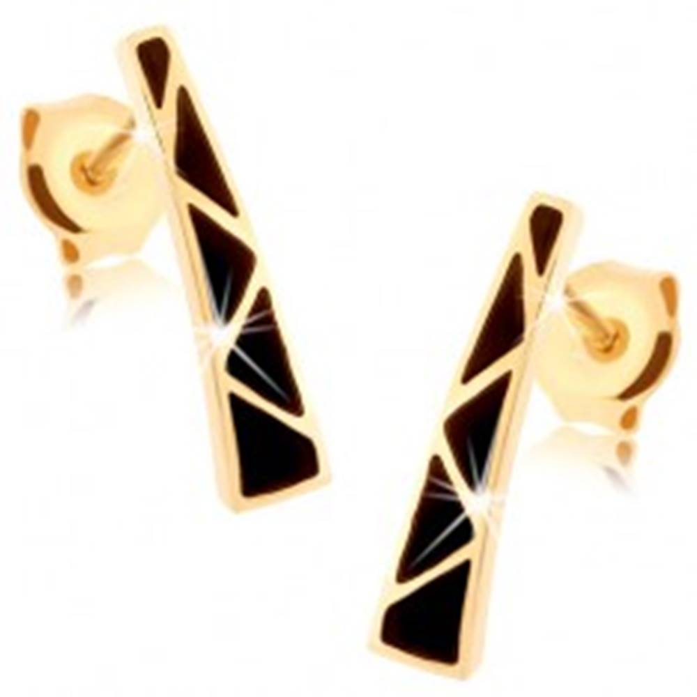 Šperky eshop Náušnice zo žltého 9K zlata - rozširujúci sa pásik, trojuholníčky z čiernej glazúry