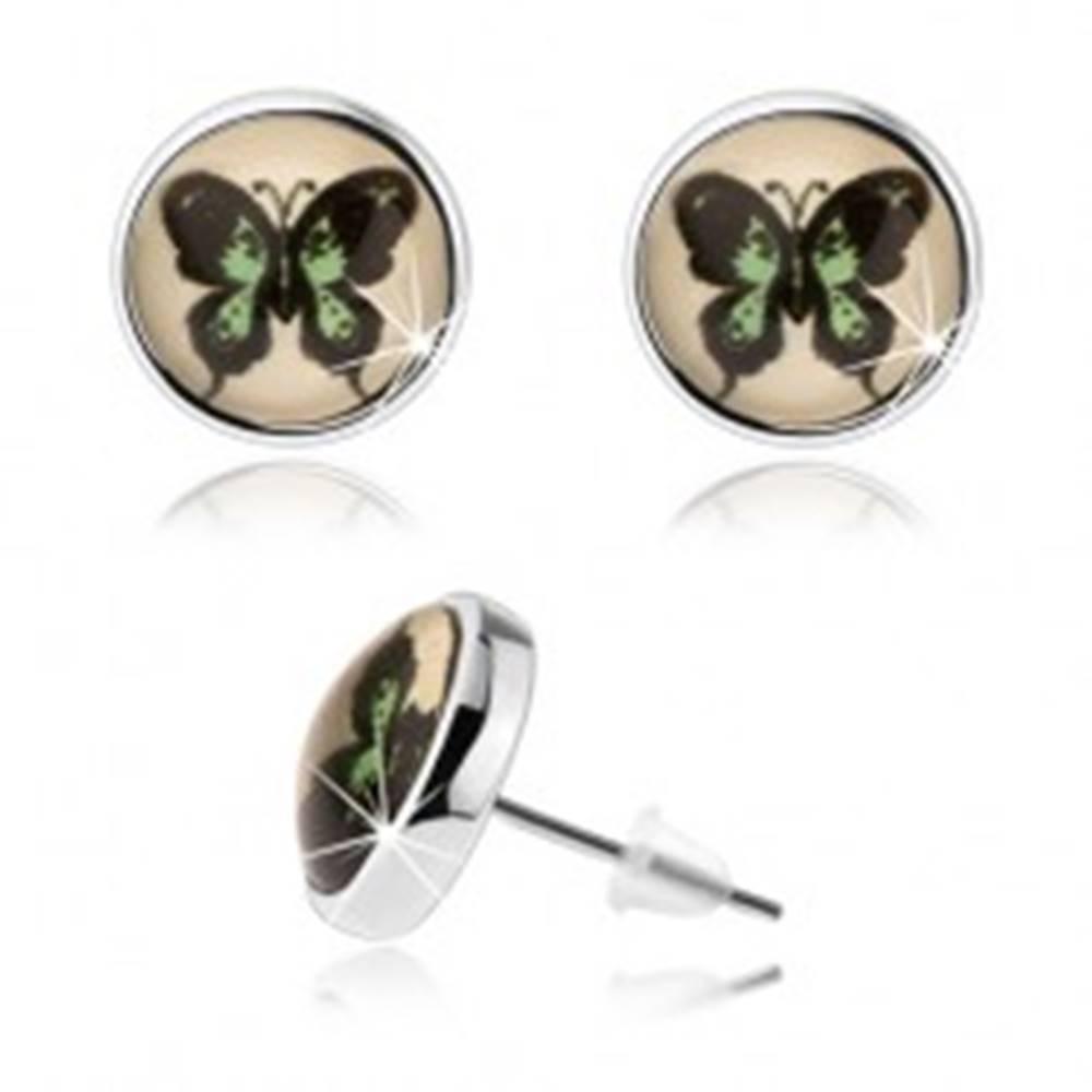 Šperky eshop Okrúhle kabošon náušnice, vypuklé sklo, zeleno-čierny motýľ, puzetky