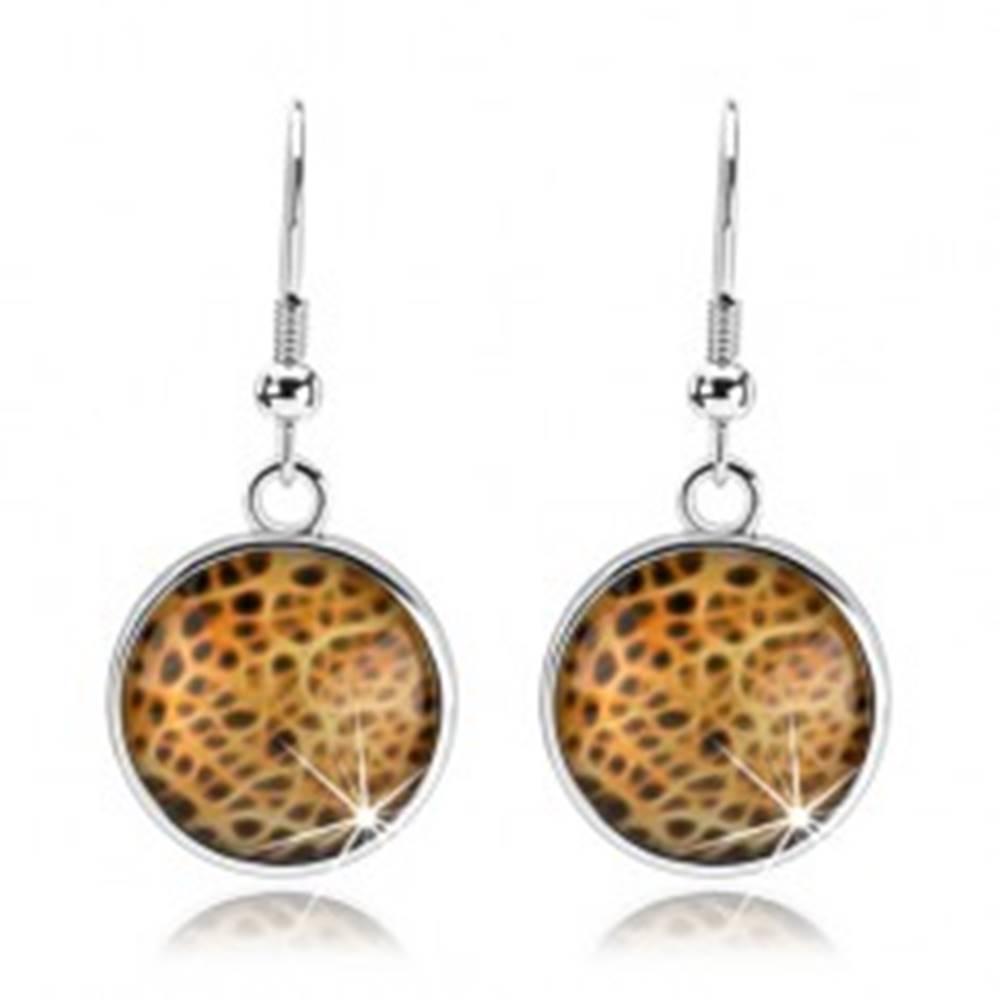 Šperky eshop Okrúhle náušnice, vypuklé hladké sklo, abstraktný vzor - sieť, cabochon