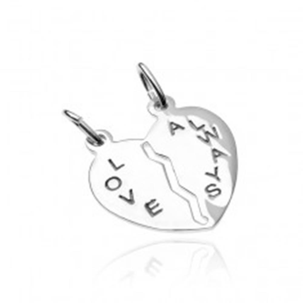 Šperky eshop Prívesok pre dvoch zo striebra 925 - prelomené srdce s nápisom Love Always