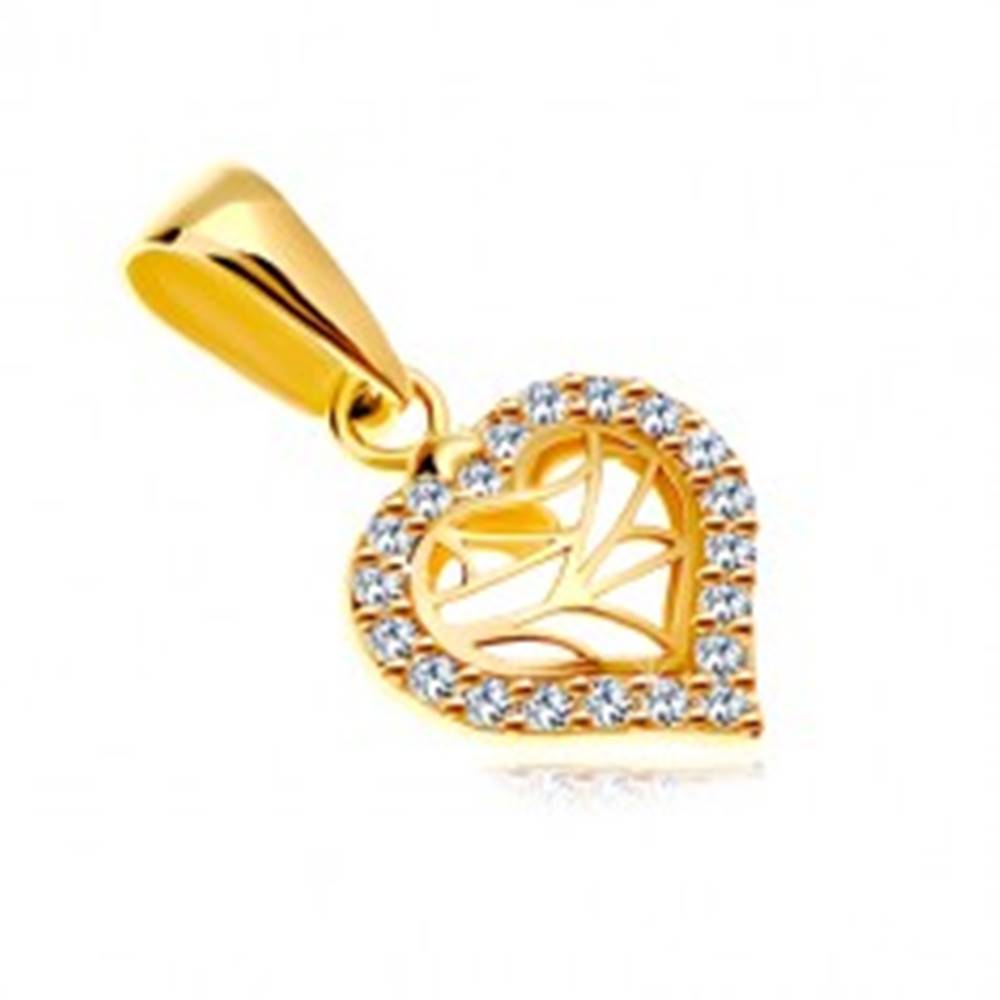 Šperky eshop Prívesok v žltom 14K zlate - srdiečko so zirkónovým obrysom a výrezmi v strede