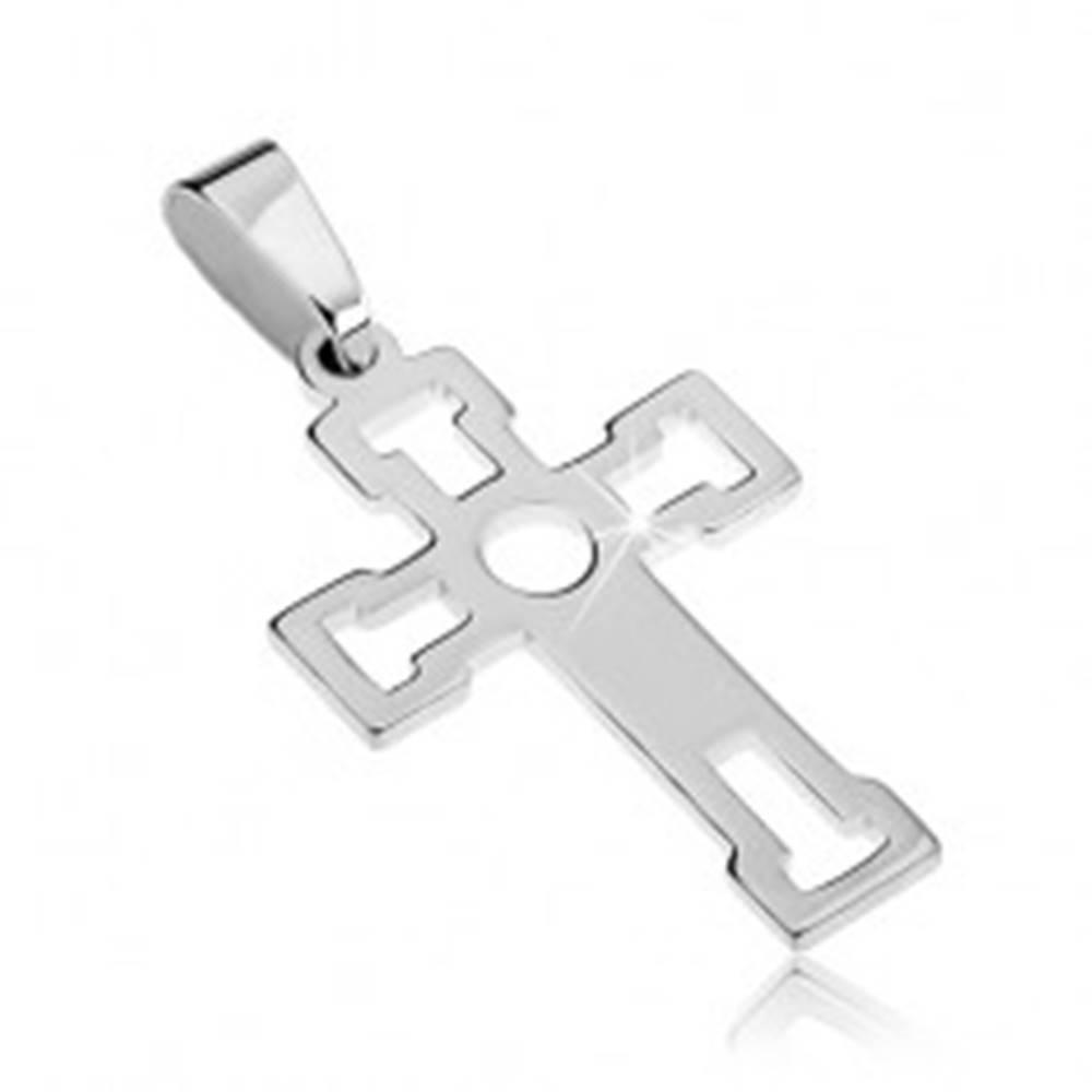 Šperky eshop Prívesok zo striebra 925 - lesklý kríž s výsekmi v tvare T