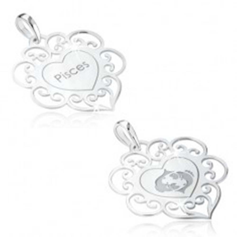 Šperky eshop Prívesok zo striebra 925, znamenie zverokruhu RYBY, srdce s ornamentami
