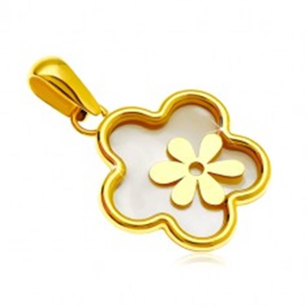 Šperky eshop Prívesok zo žltého 14K zlata - kvet s výplňou z perlete a menším kvietkom