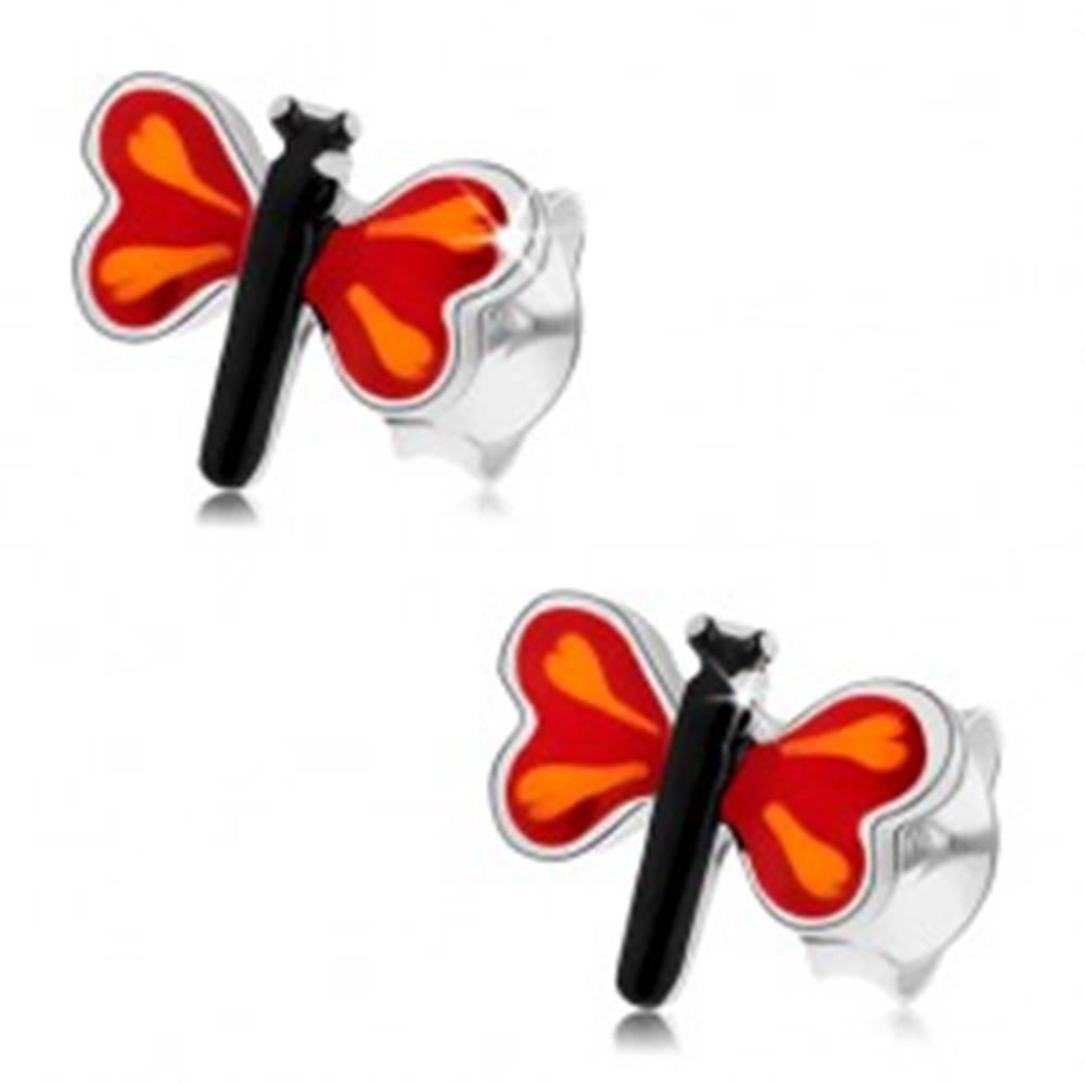 Šperky eshop Puzetové náušnice zo striebra 925, farebný malý motýľ, červené krídla