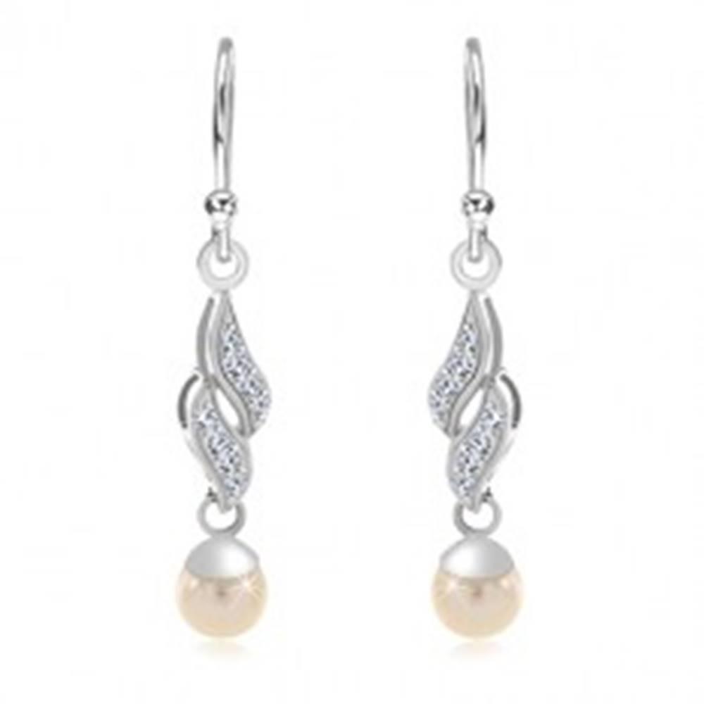 Šperky eshop Strieborné 925 náušnice, dve zirkónové vlnky, biela guľatá perla