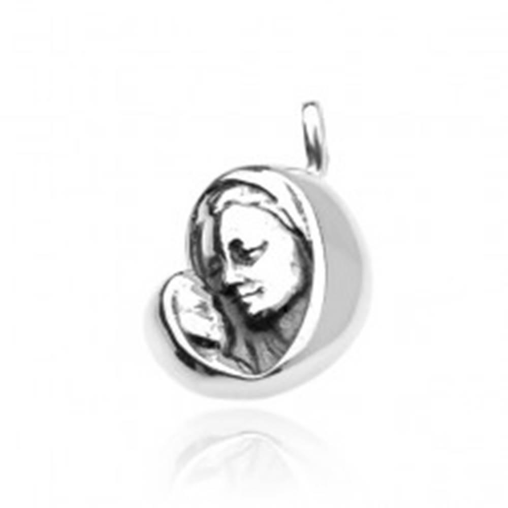Šperky eshop Strieborný prívesok 925 - Panna Mária s dieťatkom, jemne patinovaný