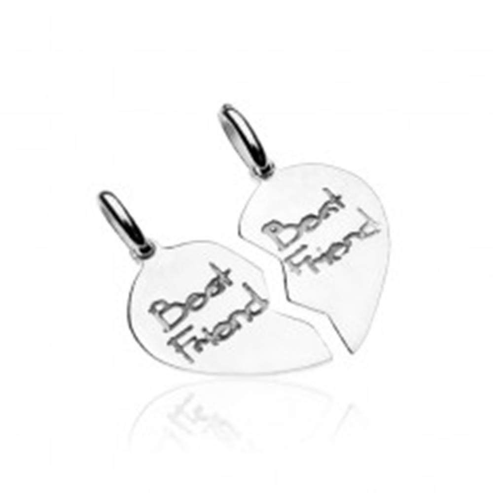 Šperky eshop Strieborný prívesok 925 pre dvojicu - rozpolené srdcia Best friend