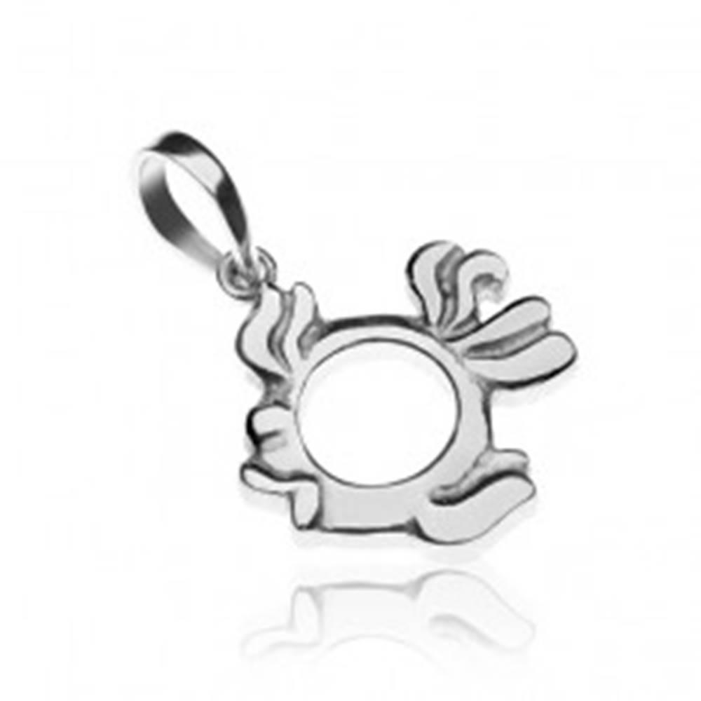 Šperky eshop Strieborný prívesok 925 - zdobená rybka s prázdnym bruškom
