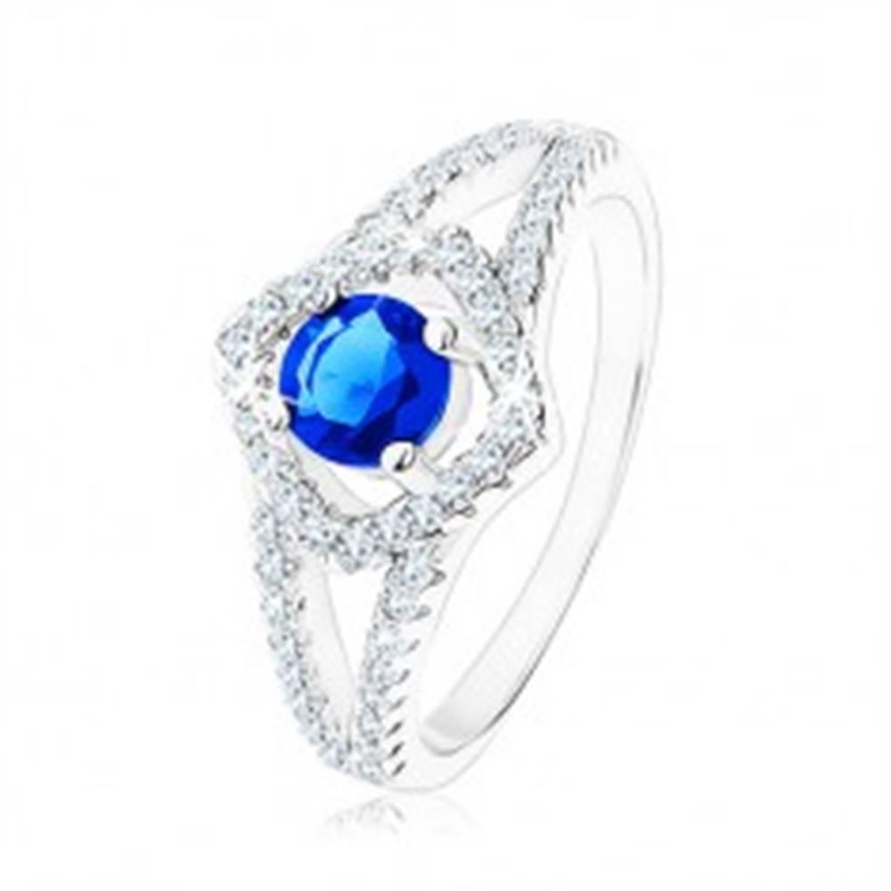 Šperky eshop Strieborný prsteň 925, rozdvojené ramená, obrys štvorca, modrý zirkón - Veľkosť: 49 mm