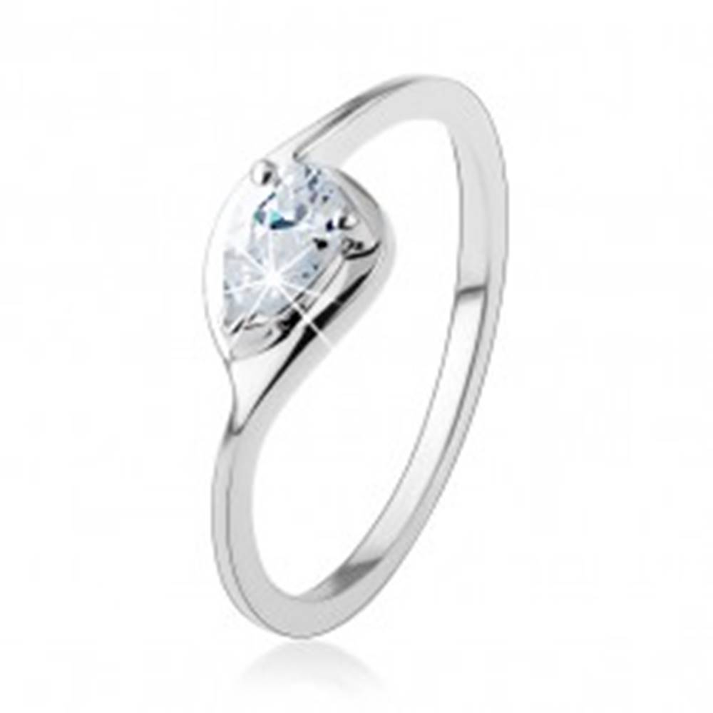 Šperky eshop Strieborný prsteň 925, tenké ramená, číra zirkónová kvapka, lesklý obrys - Veľkosť: 49 mm