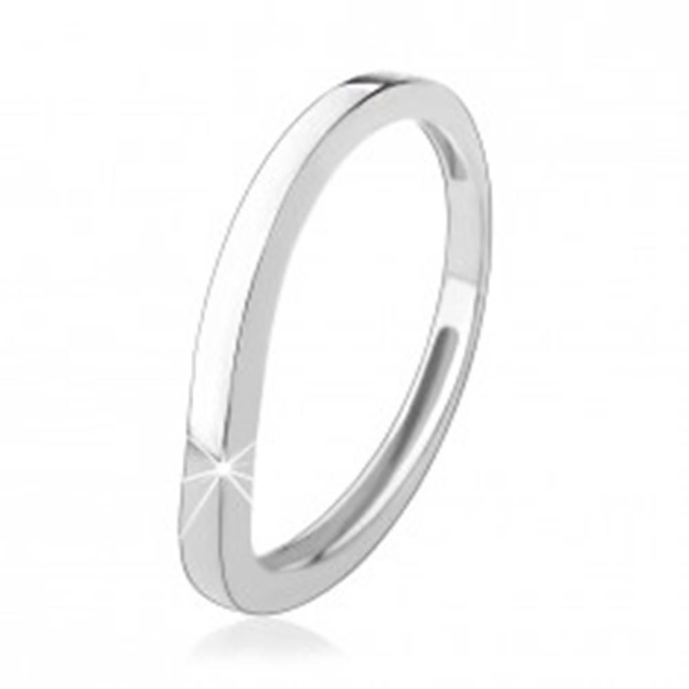 Šperky eshop Strieborný prsteň 925, zvlnená línia, lesklý hladký povrch - Veľkosť: 48 mm