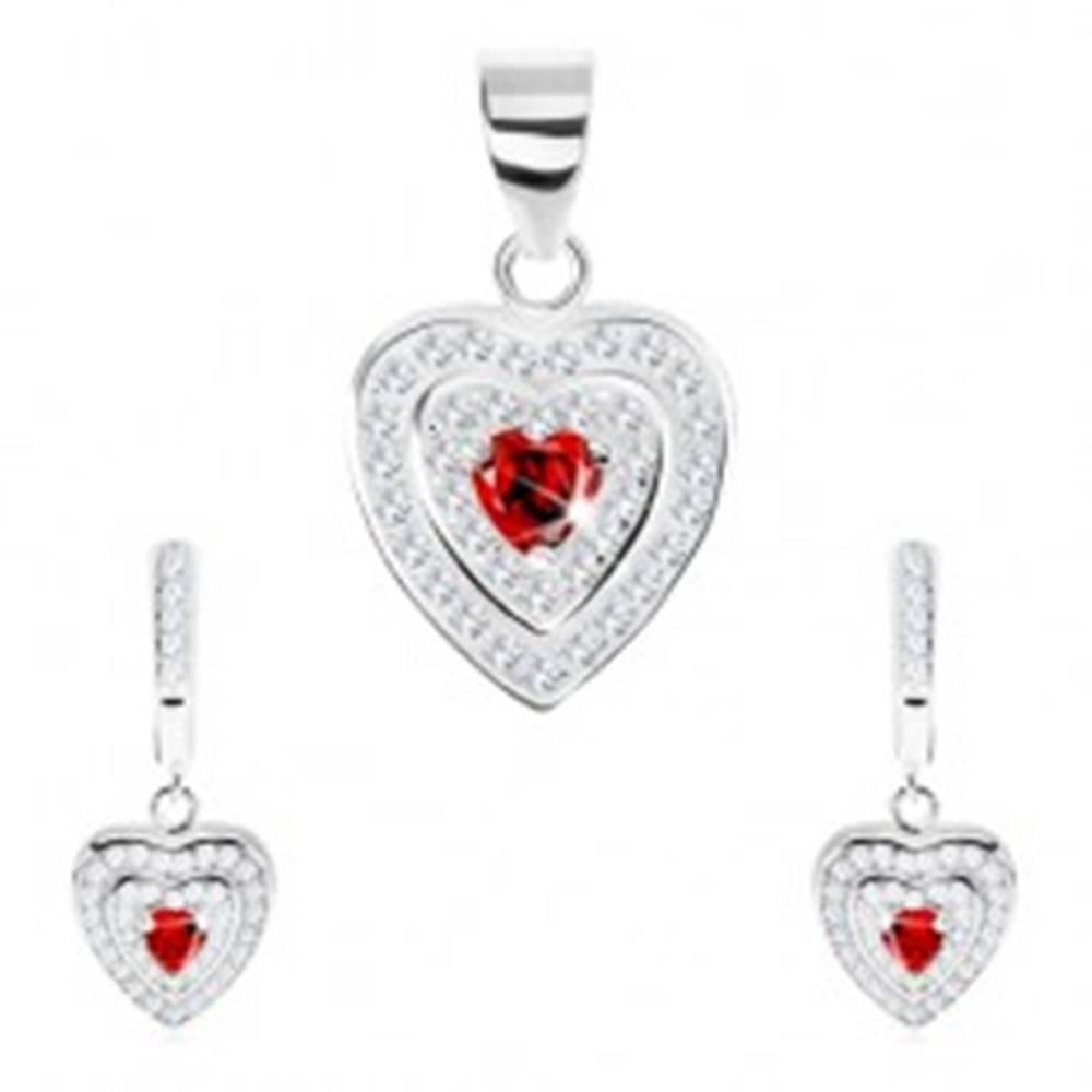 Šperky eshop Strieborný set 925, prívesok a náušnice, zirkónové srdce, dvojitý ligotavý lem