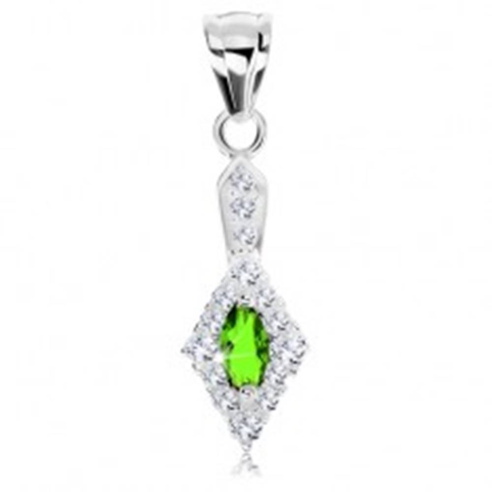 Šperky eshop Trblietavý prívesok, striebro 925, zelený ovál v zirkónovej kontúre kosoštvorca