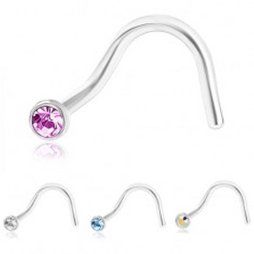 Šperky eshop Zahnutý piercing do nosa z ocele 316L, strieborná farba, farebný zirkónik - Farba zirkónu: Číra - C