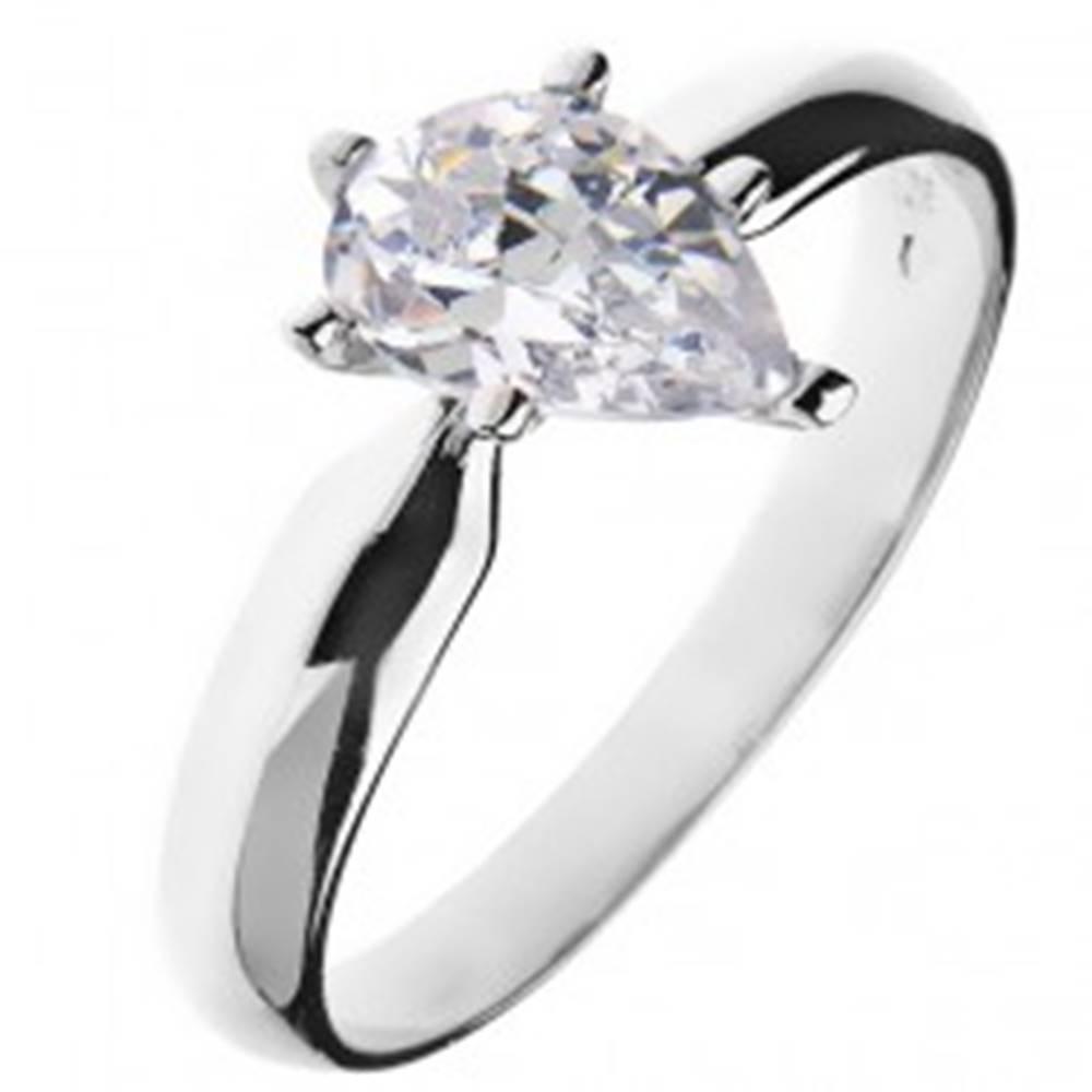 Šperky eshop Zásnubný prsteň zo striebra 925 – zirkón v tvare slzy - Veľkosť: 49 mm