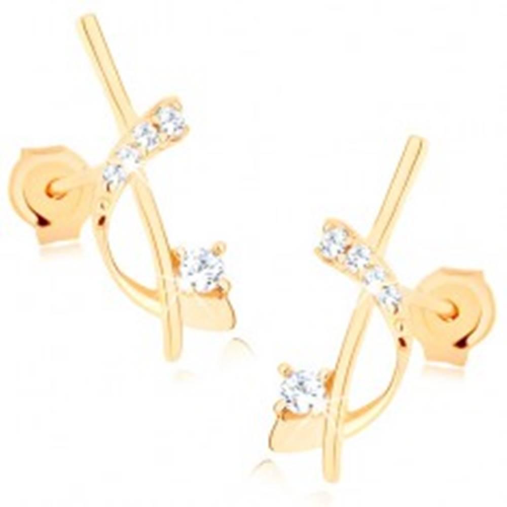 Šperky eshop Zlaté náušnice 375 - úzka palička a oblúk zdobený čírymi zirkónmi