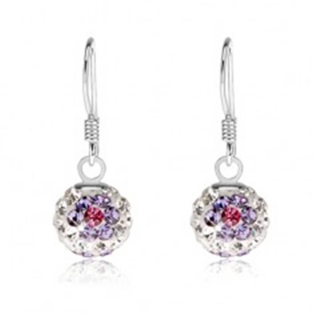 Šperky eshop Biele guličkové náušnice, striebro 925, trblietavé fialovo-ružové kvety, 8 mm