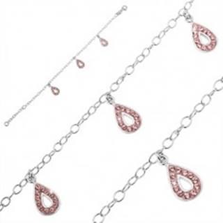 Náramok zo striebra 925 - tri slzičkové prívesky, ružové zirkóny