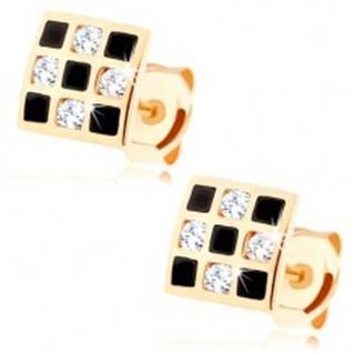 Náušnice zo zlata 375 - štvorček so šachovnicovým vzorom, zirkóny, glazúra