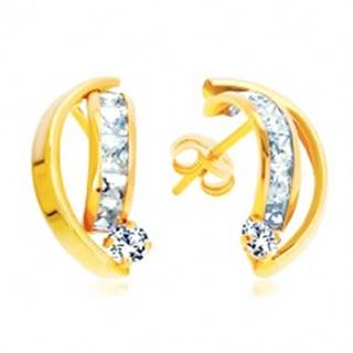 Náušnice zo žltého 14K zlata - dva lesklé oblúky, zirkóny čírej farby