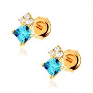 Náušnice zo žltého 14K zlata, štvorcový modrý topás, číre zirkóniky