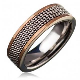 Oceľový prsteň - retiazkový stredový pás, lem zlatej farby - Veľkosť: 49 mm