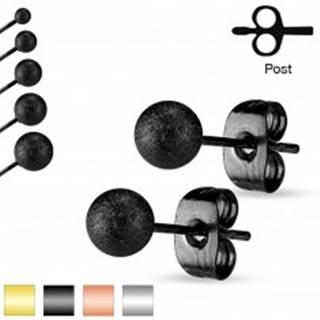 Puzetové náušnice, oceľ 316L, pieskované trblietavé guličky, 7 mm - Farba: Čierna