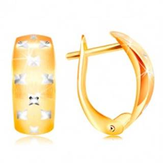 Zlaté 14K náušnice - matný oblúk, drobné ligotavé krížiky z bieleho zlata