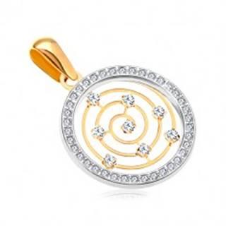 Zlatý 14K prívesok - obruč z bieleho zlata a zirkónov, tenká špirála v strede