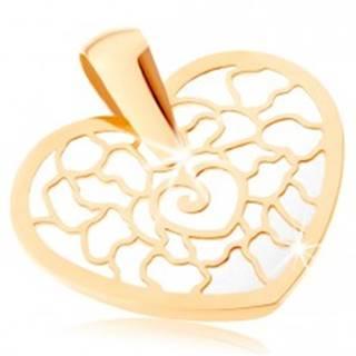 Zlatý prívesok 375 - obrys srdca s ornamentami, podklad z perlete