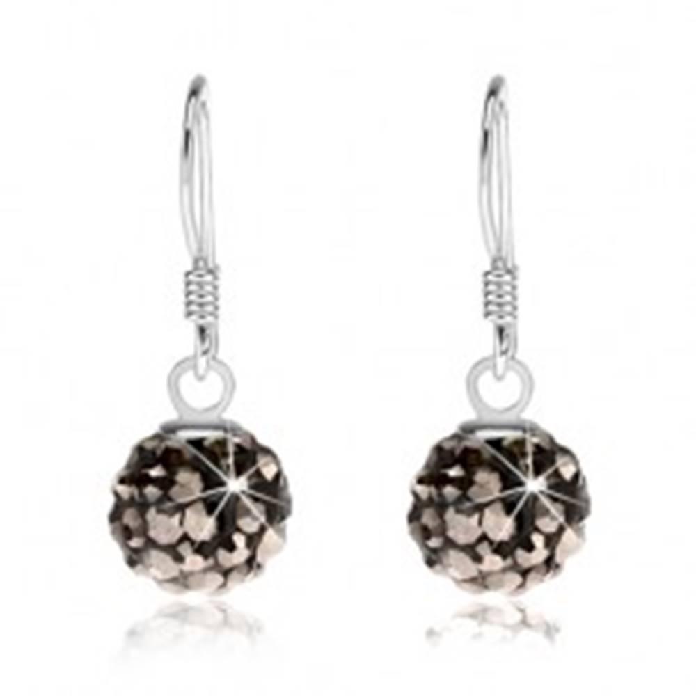 Šperky eshop Guličkové náušnice zo striebra 925, čierny povrch, oceľovo sivé kryštály, 8 mm