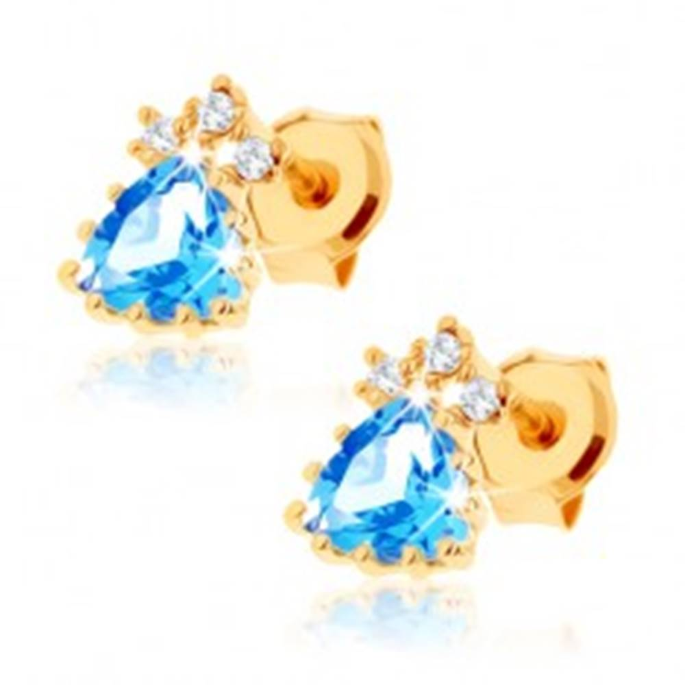 Šperky eshop Ligotavé náušnice zo žltého 14K zlata - modrý topásový trojuholník, čire zirkóny